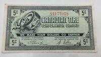 1962 Canadian Tire Five 5 Cents CTC-7-A1 Extra Fine Money Bonus Banknote D050