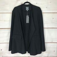 Lysse Lianna Plus Open-Front Long Sleeve Stretch Womens 1X Black Midi Jacket NWT