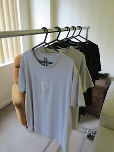 Assos T-Shirts L Grey and Black Lot of 5 Italian Stretch Cotton Made In Italy