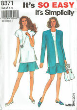 SIMPLICITY 8371 ~ TUNIC TOP, SHORTS & JACKET  **IT'S SO EASY**  SIZE 6 to16