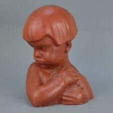 Jean CANNEEL (1889-1963) Sculpture buste de fille en terre cuite patiné 30 cm