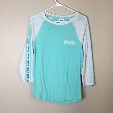 Women's VICTORIA SECRET LOVE PINK 3/4 Sleeve Teal White Shirt Size XS