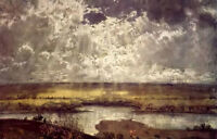 Oil painting Hans Thoma - Main landschaft Inky clouds filled the sky on canvas