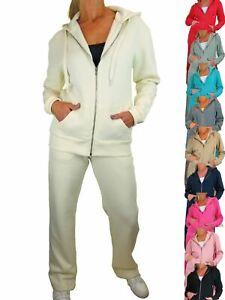 Womens Fleece Tracksuit Set Casual Loose Fit Plain Zip Hoodie Set 10-22