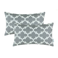 2Pcs Grey Bolster Pillow Covers Cases Geometric Couch Sofa Home Car 12x20 Inches