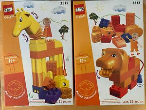 Get 2, New Lego Duplo Explore Giraff And Lion Building Brick 3512 & 3513 Set Lot