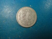 1919 MEXICO 50 CENTAVOS .720 SILVER.  NICE F-VF 100 YEARS OLD!