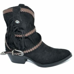 Stivaletto texano camperos donna nero a punta con frange borchie e fibbia tacco