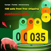 100X Schafe Ziege Schwein Kuh Rindfleisch Vieh Ohrmarken Nummer Tier Zubehör