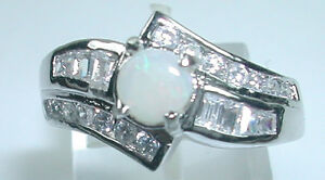 Ring with Australian Opal Accented Cubic Zirconia in Sterling Silver Wedding