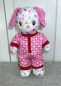 """💜 Build a Bear Candy Paws White Dog Plush 15"""" w/ Pink Hearts Design Sleeper 💜"""