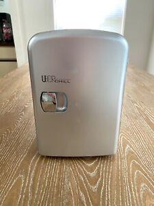 Uber Appliance Portable Cooler/Warmer 6 Can Mini Fridge Gun Metal Silver