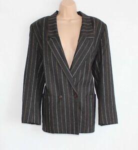 Women's PETER MARTIN Double Breasted Grey Striped Wool Blazer Jacket XL UK16