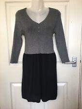 Mango Grey And Black Stretchy Knitwear Dress Size 10 Nwot