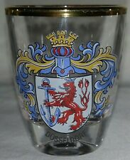 "Dusseldorf crest dragon anchor shield 2"" gold trim rim European shot glass"