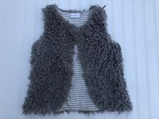 Hanna Andersson Girls Faux Fur Gray Sherpa Fleece Vest - Size 130 8
