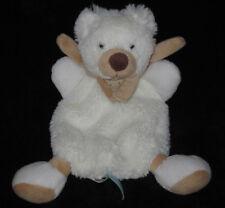 Doudou Ours Ourson blanc écru écharpe marron beige BN940 Babynat' Baby Nat' 26cm