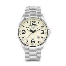 Torgoen Swiss T10 Men's Quartz 3 Hand Calendar Pilot Watch Metal Band T10CR45M