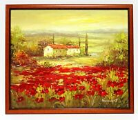 Red Poppy Fields Farm    20 x 24 Art Oil Painting on Canvas w/ Wood Frame