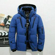 Men's Duck Down Jacket Snow Hooded Coat Climbing Oversize Blue SIZE M