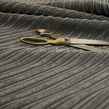 Furnishing Upholstery Fabric High Low Soft Velvet Textured Cord Charcoal Colour