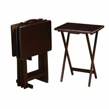 Four Cappuccino Transitional TV Dinner Living Room Folding Tray table With Stand