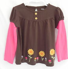 NWT Gymboree Girl Brown T-shirt w/long Pink Sleeves and sunflowers on front, 4T