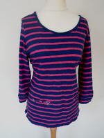 M&S Per Una Jumper Top Size 16/18 Fushia Pink Striped Longer Length Cotton