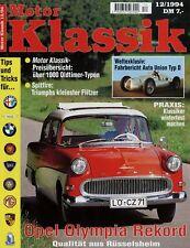 Motor Klassik 12/94 1994 Volvo P1800 Ford Thunderbird Shelby Cobra 427 Viper RT/