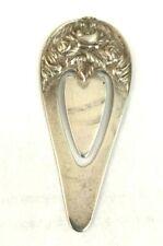 Vintage S Kirk & Son Sterling Sliver Bookmark Repousse Rose Book / Page Marker