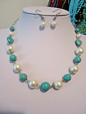 Turquoise Stone Bead With White Glass Faux Pearl Necklace Earring set