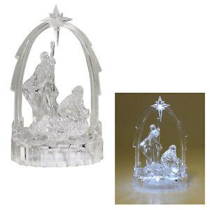 Christmas Light up Nativity Scene - Acrylic Decoration 19cm