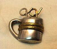 Vintage Taxco Mexico Sterling Silver & Gold Steaming Cup Of Coffee Brooch, 18.4g