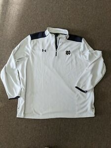 Notre Dame White Under Armour Mens 1/4 Zip Pullover with Zip Pockets 4XL