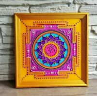"""Stained glass OM Yantra Mandala wall hanging painting on glass 8"""" Yoga art"""