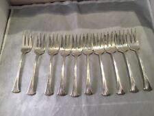 (12) Rare Tuttle Sterling 6� Dessert Forks Dei Fdr Dates Curved Tongs