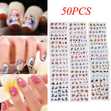 50Pcs Multicolor Pegatina Adhesivos etiquetas Decoración de uñas Manicura