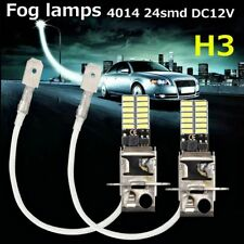 2Pcs H3 6500K 24-SMD 4014 Super Bright LED White Fog Tail DRL Head Light Bulb