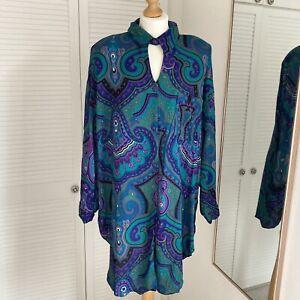VIRGO II Vintage Blouse Size M L Green Paisley Hippy Boho Lagenlook Longline Top