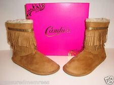Candie's Fringed Midcalf Faux Fur Boots ~ Size 8.5 ~ Tan ~ New In Box ~ MSRP $55