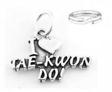 STERLING SILVER I LOVE TAE KWON DO CHARM W/SPLIT RING