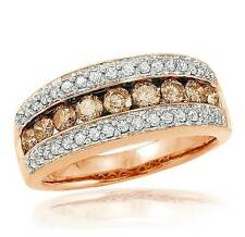 Diamond Band 10K Rose Gold Chocolate Brown & White Diamond Ring Band 1.05ct