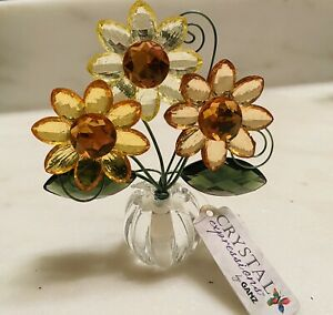 Ganz Crystal Expressions Sunflowers Posy Pot Acrylic New Spring Flowers