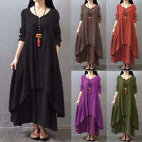 ZANZEA Women Spring Plus Size Long Kaftan Abaya Full Length Plain Maxi Dress