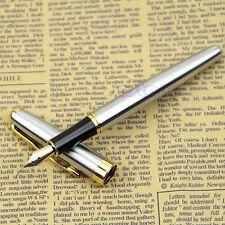 Gold Trim  BAOER 388 Golden Silver Metal Fountain Pen Size Medium Nib Nice Gift