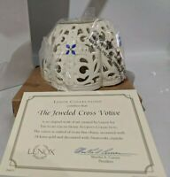"LENOX ""The Jeweled Cross Votive"" 2002 Candle Holder - New!"