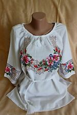 Ukrainian Embroidered women's Shirts Blouse Embroidery Briar homespun cloth XL