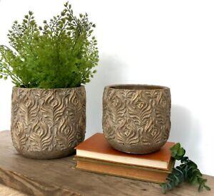 Vintage Brown Gold Plant Pot Carved Floral Leaf Print Aged Ceramic Planter Decor