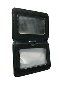 Original Leather Wallet  Premium ID Card Badge Holder With Lanyard Work Office