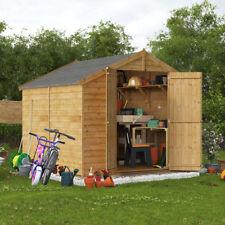 8x8 overlap garden wooden shed windowless double door apex roof felt 8ft 8ft